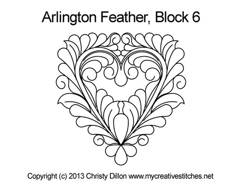 Arlington feather heart block 6 quilting pattern