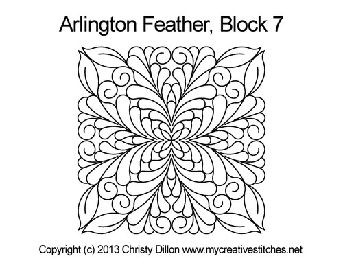 Arlington feather square block 7 quilt pattern