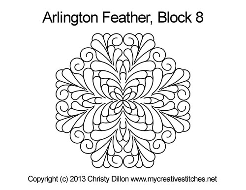 Arlington feather digitized block 8 quilt pattern