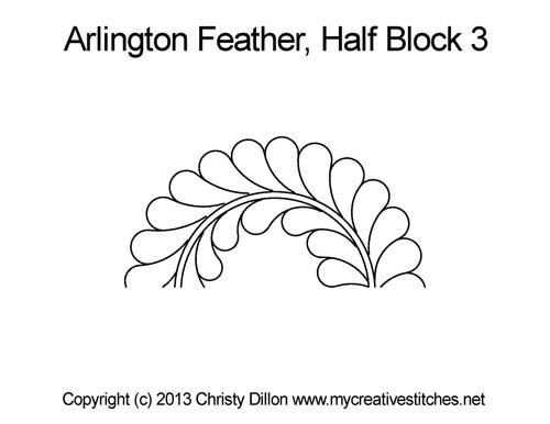 Arlington feather half block 3 quilt design