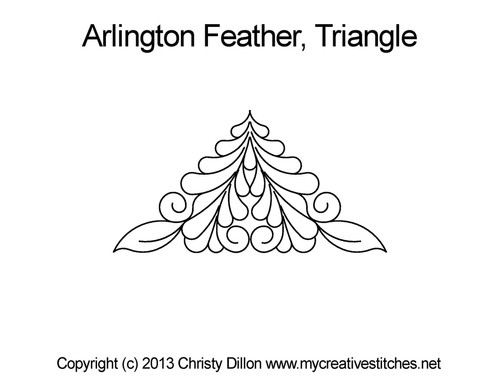 Arlington feather digitized triangle quilt design