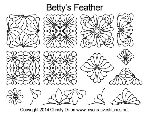 Betty's feather digital quilting ideas