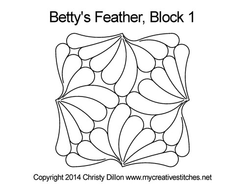 Betty's feather quilting pattern for block 1