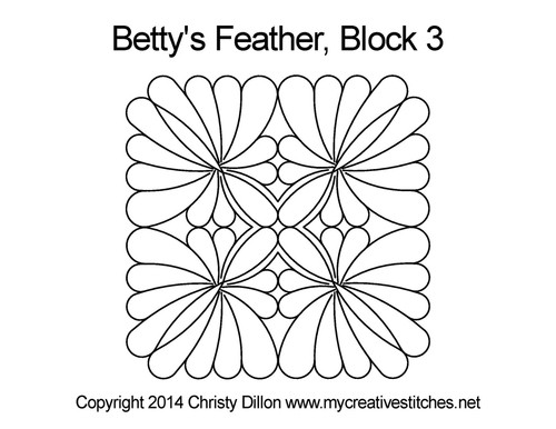 Betty's feather quilting pattern for block 3