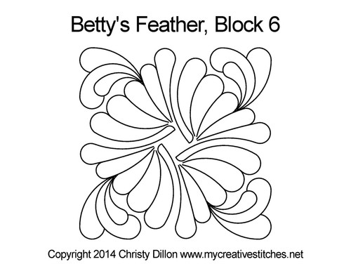 Betty's feather quilting pattern for block 6