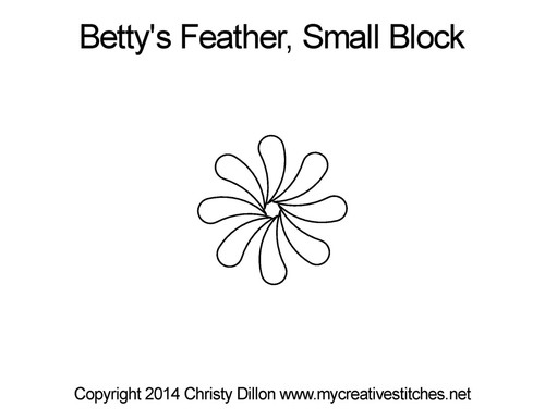 Betty's feather quilting pattern for small blocks