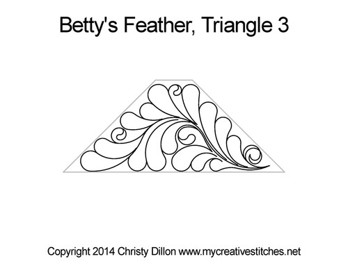 Betty's feather quilting pattern for triangle 3