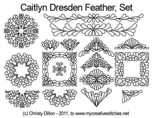 Caitlyn dresden feather digital quilt design set
