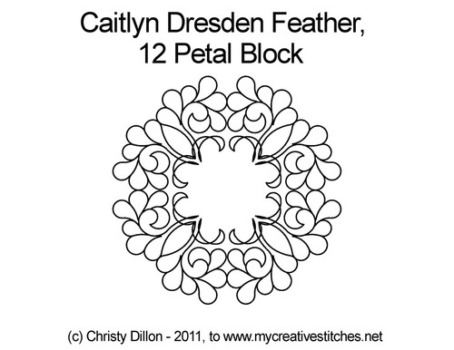 Caitlyn dresden feather 12 petal block quilting