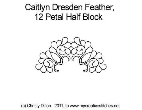 Caitlyn dresden feather 12 petal half block quilt design