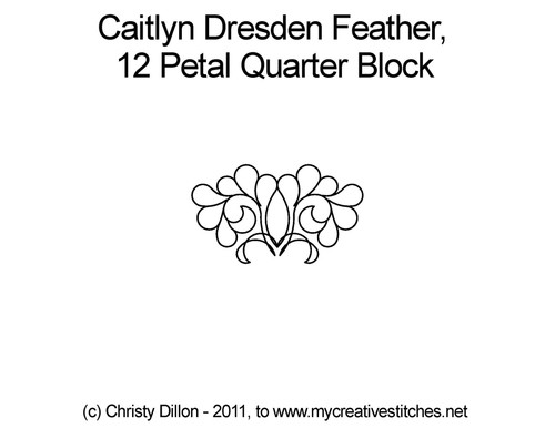 Caitlyn dresden feather 12 petal quarter block quilt