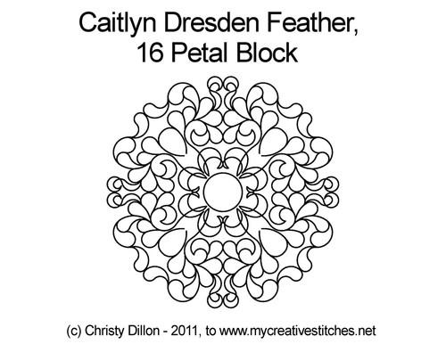 Caitlyn dresden feather 16 petal block quilt