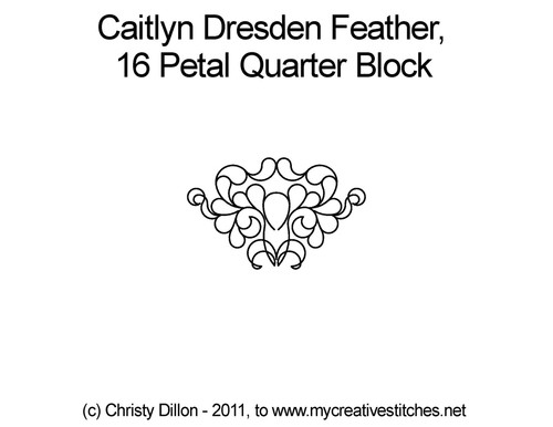 Caitlyn dresden feather 16 petal quarter block quilt