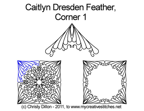 Caitlyn dresden feather corner 1 quilting pattern