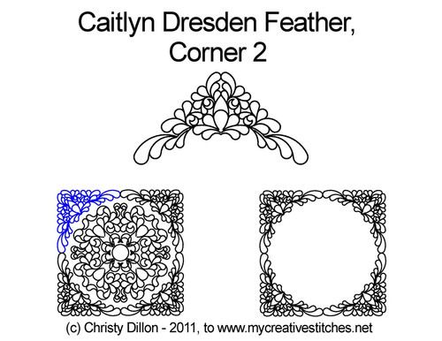 Caitlyn dresden feather digitized quilt corner 2