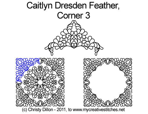Caitlyn dresden feather digitized quilt corner 3