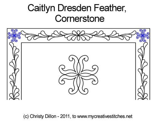 Caitlyn dresden feather cornerstone quilt pattern
