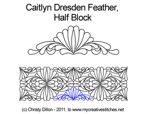Caitlyn dresden feather half block quilt pattern