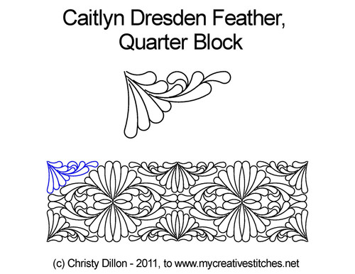 Caitlyn dresden feather quarter block quilt design