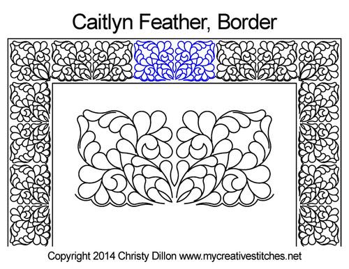 Caitlyn feather border quilt design