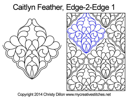 Caitlyn feather edge to edge digital quilt designs
