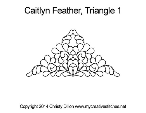 Betty's feather quilting pattern for triangle 1