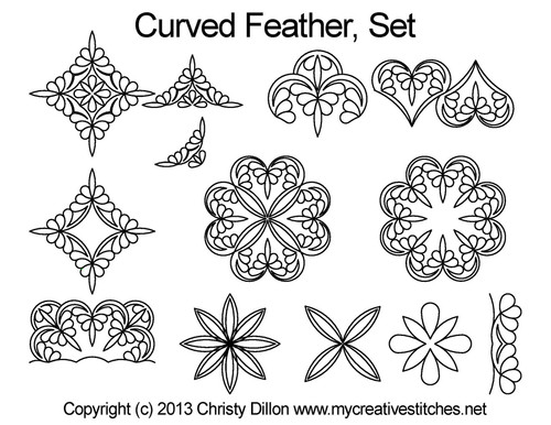 Curved feather digitized quilting designs set