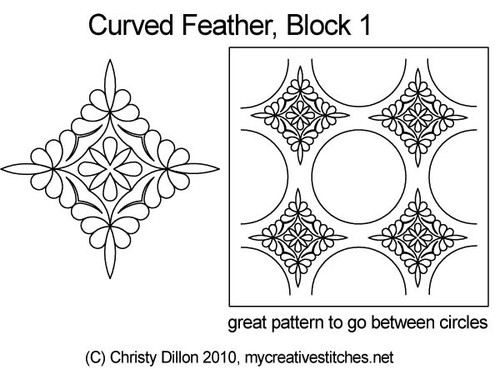 Curved feather block 1 digital quilt pattern