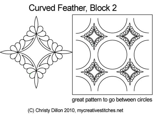 Curved feather block 2 digital quilt pattern