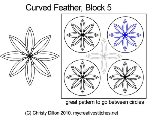 Curved feather block 5 quilt designs