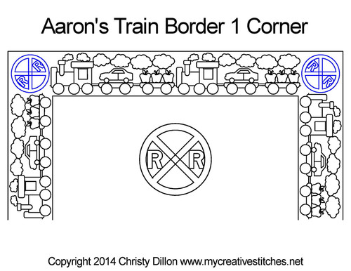 Aaron's train border 1 corner quilting design