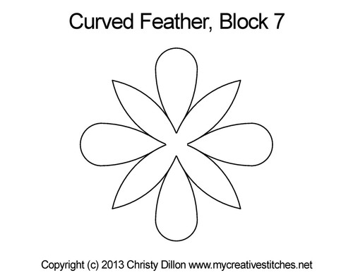 Curved feather quilting patterns for block 7