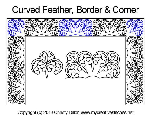 Curved feather border & corner quilt design