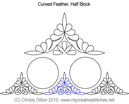 Curved feather half block quilt pattern