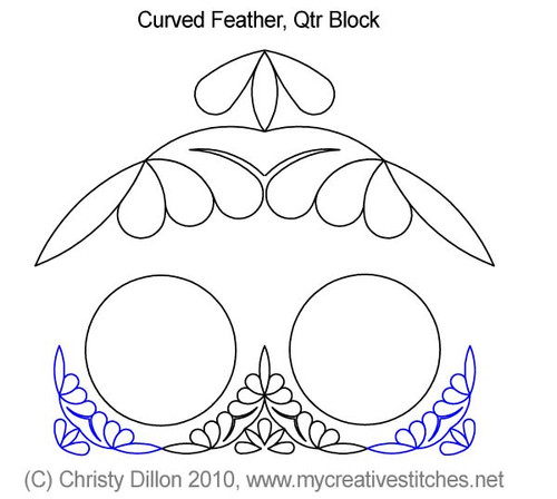 Curved feather quarter block quilt design