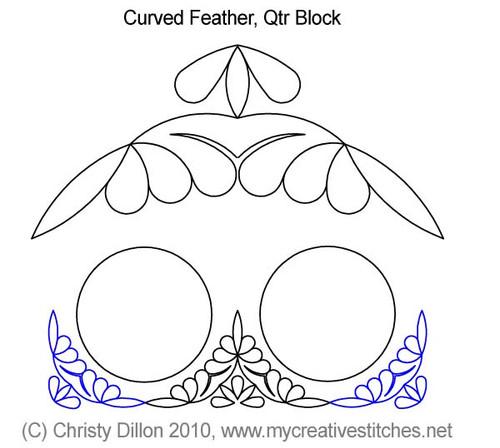 Curved feather quarter block quilt design