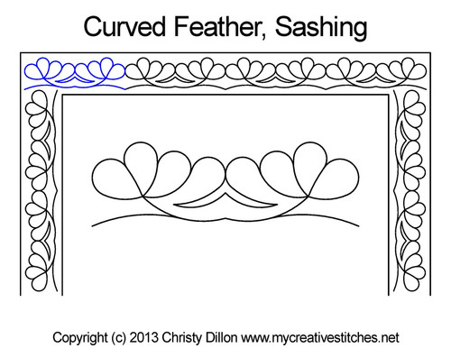 Curved feather sashing quilt pattern