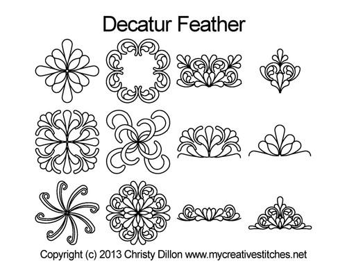 Decatur feather computerized quilt design set
