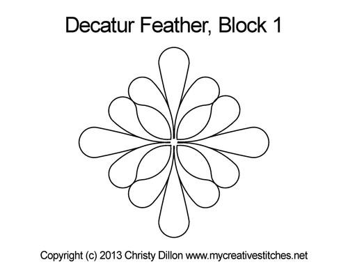 Decatur feather block 1 quilt design