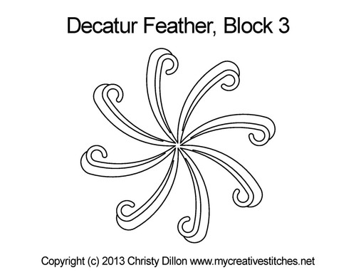 Decatur feather block 3 quilting design