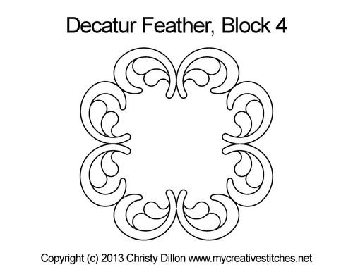 Decatur feather quilting design for block 4