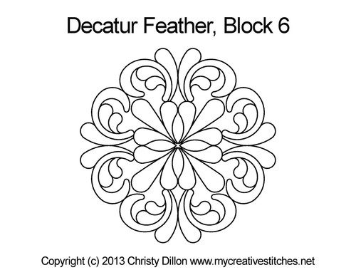 Decatur feather quilting design for block 6