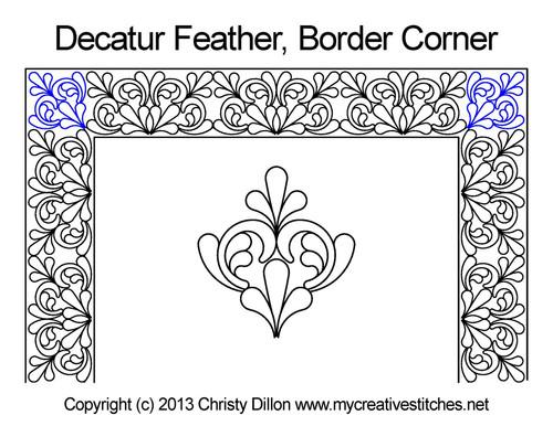 Decatur feather border & corner quilt pattern