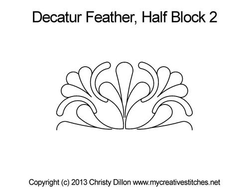 Decatur feather half block 2 quilting pattern