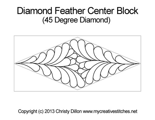 Diamond feather center block quilting ideas
