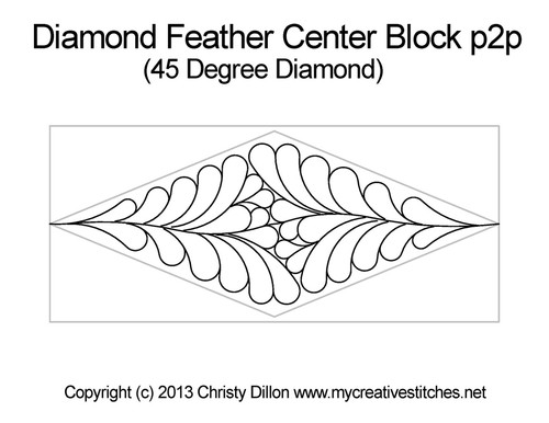 Diamond feather center block p2p quilt design