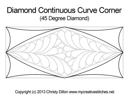 Diamond continuous curve corner quilt design