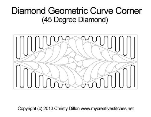 Diamond geomertic curve corner quilt design