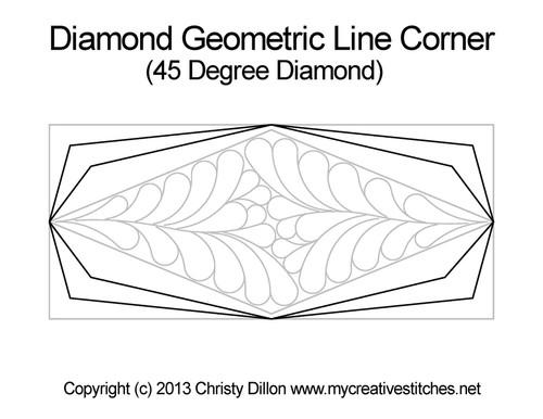 Diamond geomertic line corner quilt pattern