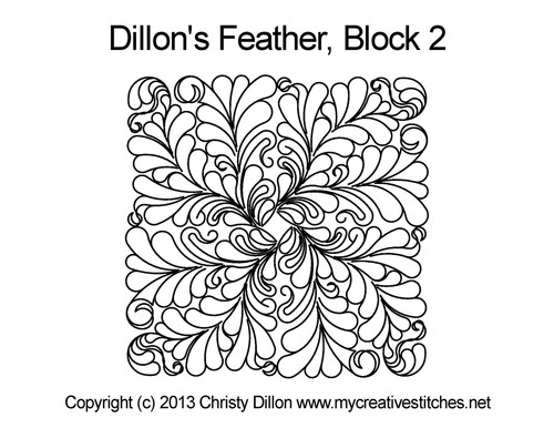 Dillon's feather block 2 quilting pattern
